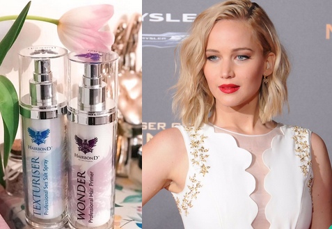 jennifer lawrence hair with hairbond wonder and sea salt spray